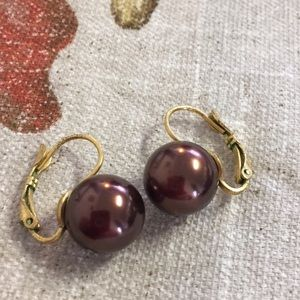 Jewelry - Brown Ball Pierced Earrings